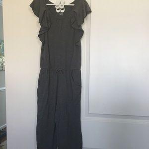 Girls Dark Gray Ruffled Jumpsuit Size M (7-8)